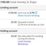 Zopa dashboard money lent